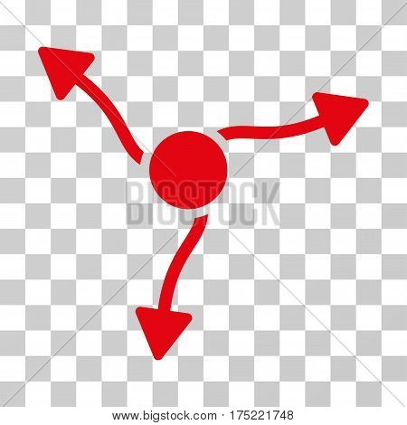 Curve Arrows icon. Vector illustration style is flat iconic symbol red color transparent background. Designed for web and software interfaces.