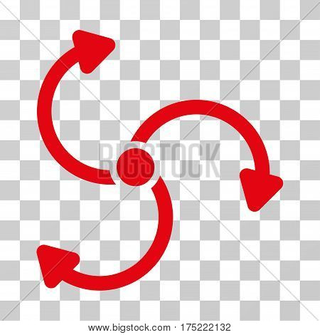 Fan Rotation icon. Vector illustration style is flat iconic symbol red color transparent background. Designed for web and software interfaces.