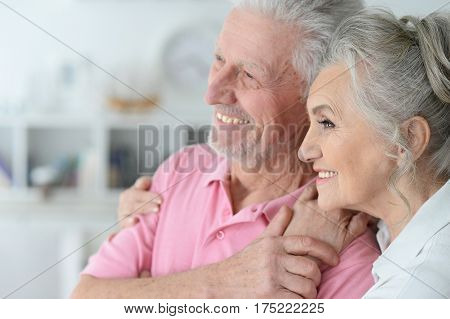 Portrait of a happy elderly couple standing embracing