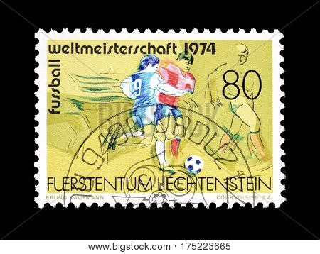 LIECHTENSTEIN - CIRCA 1974 : Cancelled postage stamp printed by Liechtenstein, that shows Football.