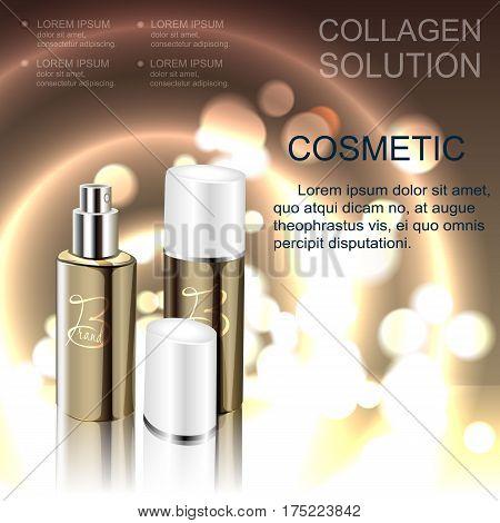Cosmetics template bottle spray for the skin.Cosmetics template bottle spray for the skin. Vector illustration.