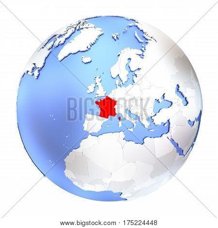 France On Metallic Globe Isolated