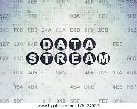Data concept: Painted black text Data Stream on Digital Data Paper background with Hexadecimal Code