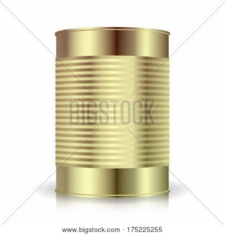 Metallic Cans Vector. Food Tincan Ribbed Metal Tin Can, Canned Food. Blank For Your Design. Realistic Empty Product Packing Template With Shadow
