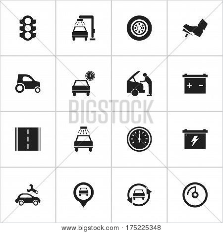 Set Of 16 Editable Transport Icons. Includes Symbols Such As Tire, Car Lave, Pointer And More. Can Be Used For Web, Mobile, UI And Infographic Design.