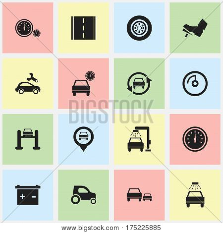 Set Of 16 Editable Vehicle Icons. Includes Symbols Such As Highway, Speed Control, Vehicle Wash And More. Can Be Used For Web, Mobile, UI And Infographic Design.
