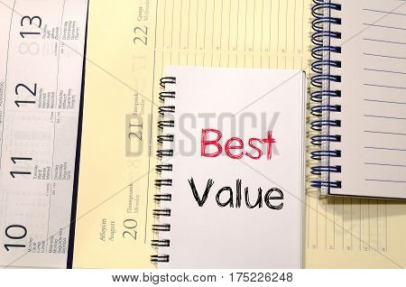 Best value text concept write on notebook