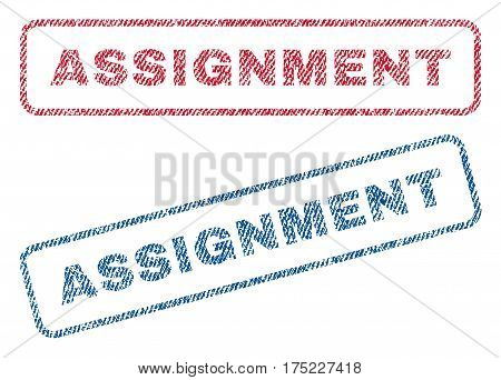 Assignment text textile seal stamp watermarks. Blue red fabric vectorized texture. Vector caption inside rounded rectangular shape. Rubber sticker with fiber textile structure.