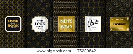 The labels contain the following text. Look Book Essential Collection, Luxury Look Tips, Men's Elegant Wear, Ready-to-wear Classic Collection, Men Classic Fashion Collection