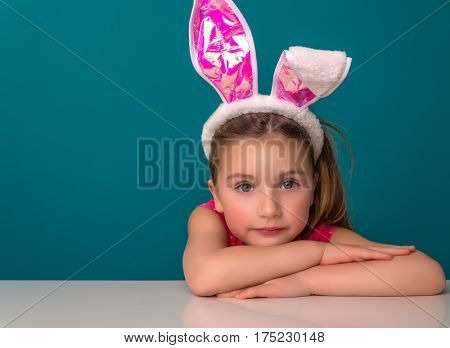 little cute easter female waiting for gifts