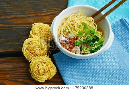 close up from Stir-fried noodles. Fried Mee Suah (Chinese Flour Vermicelli)