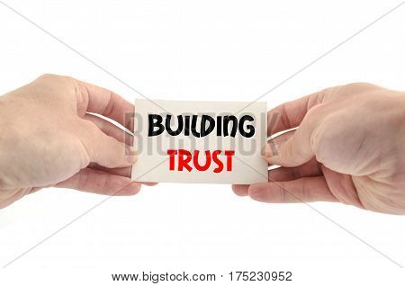 Building trust text concept isolated over white background