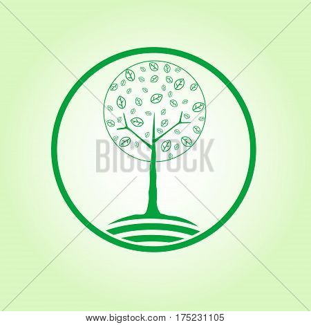 Round symbol of tree. Nature, ecology concept. vector