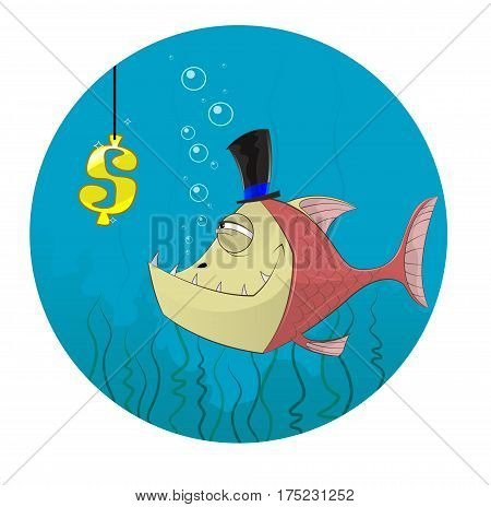 Cartoon fish going to catch dollar symbol. Concept illustration of greed danger.