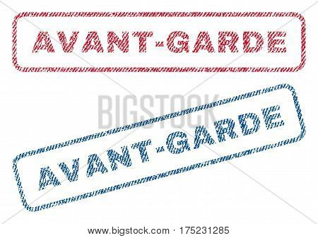 Avant-Garde text textile seal stamp watermarks. Blue, red fabric vectorized texture. Vector caption inside rounded rectangular banner. Rubber sign with fiber textile structure.