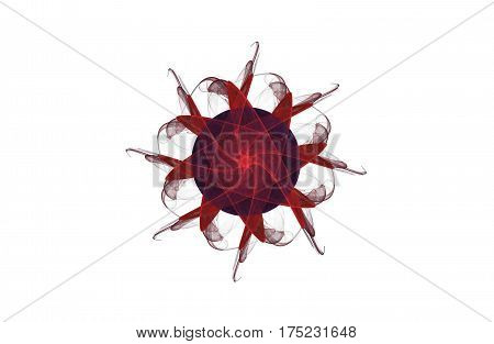 abstract aggressive fractal red black figure on white background
