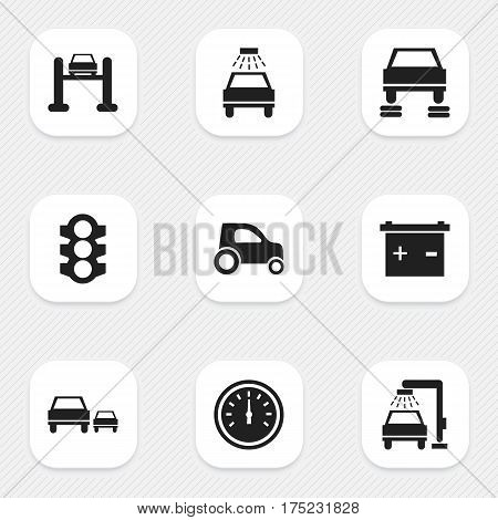 Set Of 9 Editable Vehicle Icons. Includes Symbols Such As Car Lave, Vehicle Wash, Race And More. Can Be Used For Web, Mobile, UI And Infographic Design.