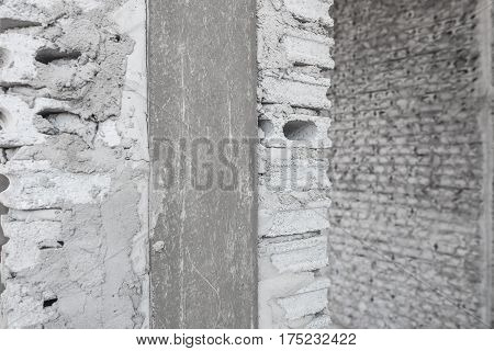 Uncompleted Grey Concrete Brick Wall