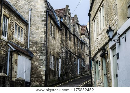 Horizontal picture.View on the one of street in Bradford on Avon in England.