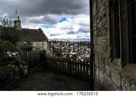 Landscape view on the center town in Bradford on Avon in England.