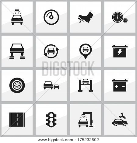 Set Of 16 Editable Vehicle Icons. Includes Symbols Such As Vehicle Wash, Accumulator, Pointer And More. Can Be Used For Web, Mobile, UI And Infographic Design.