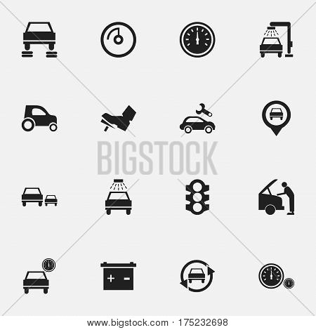 Set Of 16 Editable Car Icons. Includes Symbols Such As Treadle, Accumulator, Vehicle Car And More. Can Be Used For Web, Mobile, UI And Infographic Design.