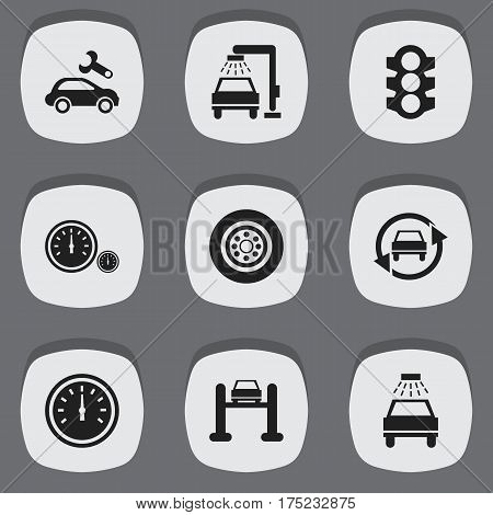 Set Of 9 Editable Vehicle Icons. Includes Symbols Such As Car Lave, Speed Control, Speedometer And More. Can Be Used For Web, Mobile, UI And Infographic Design.