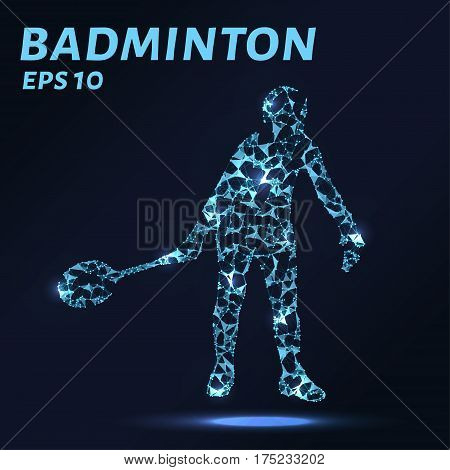 Badminton Consists Of Points, Lines And Triangles. The Polygon Shape In The Form Of A Silhouette Of