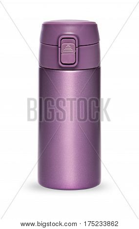 Purple thermos bottle with plastic lid and convenient spout for an active life isolated on white background