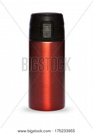 Red thermos with plastic lid and convenient spout for an active life isolated on white background