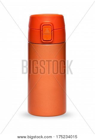 Orange thermos with plastic lid and convenient spout for an active life isolated on white background