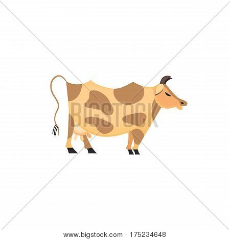 Domestic Animal icon. Dairy cattle sign. Freehand drawn cartoon style. Vector Milk cow with spots symbol. Mammals element for poster background. Farming cow with udder, horns, hoofs illustration
