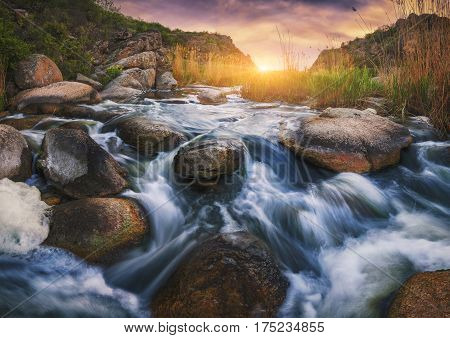 Canyon With Fast Rocky River