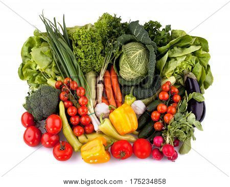 Top view of fresh vegetables isolated on white background.
