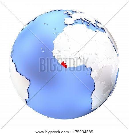 Liberia On Metallic Globe Isolated