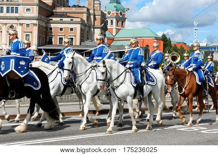 Stockholm: aug 25. 2016 - The Royal Guards - changing of the guards at the Royal Castle in Stockholm Sweden