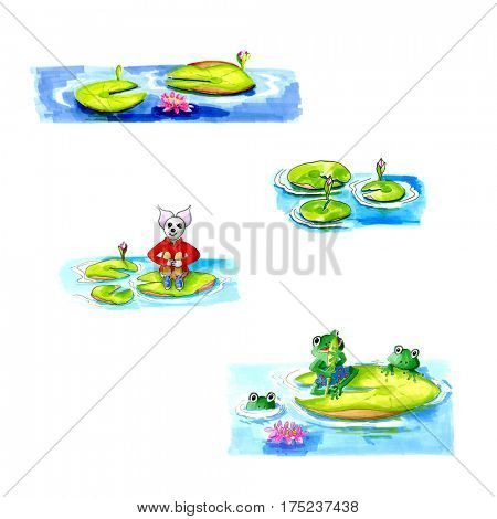 Hand drawn illustrations of water lilies frog and mouse