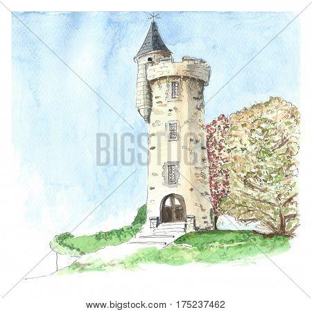 Illustration tower in village Masseret in France