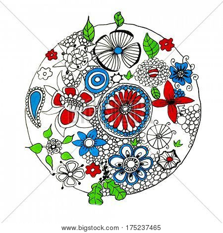 Illustration flowers in circle isolated over white background