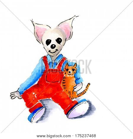 child mouse with little cat sitting at the floor