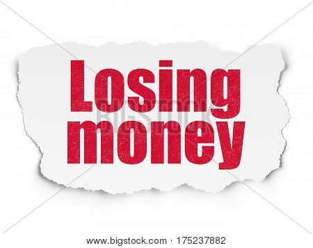 Money concept: Painted red text Losing Money on Torn Paper background with  Tag Cloud