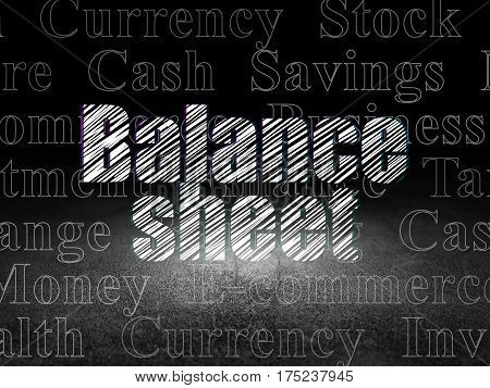 Currency concept: Glowing text Balance Sheet in grunge dark room with Dirty Floor, black background with  Tag Cloud