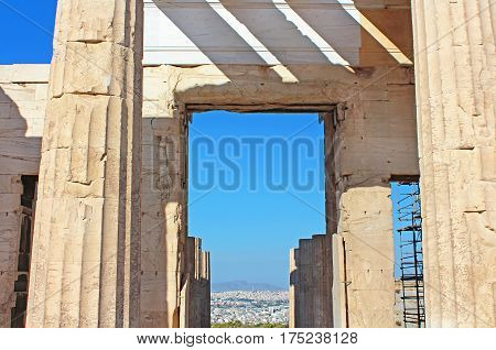 Propylaea is the monumental gateway to the Acropolis the Propylaea, was built under the general direction of the Athenian leader Pericles, Athens, Greece