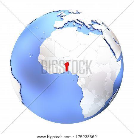 Benin On Metallic Globe Isolated