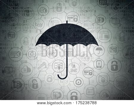 Protection concept: Painted black Umbrella icon on Digital Data Paper background with Scheme Of Hand Drawn Security Icons