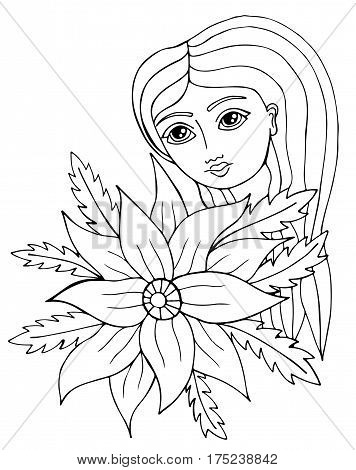 Portrait of a beautiful girl with long hair with flower and leaves. Mono color black line art element for adult coloring book page design.