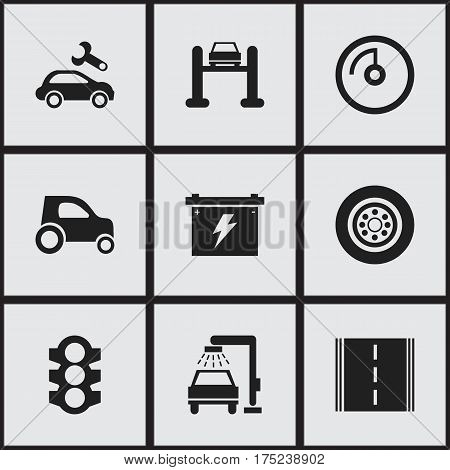 Set Of 9 Editable Traffic Icons. Includes Symbols Such As Automotive Fix, Vehicle Wash, Vehicle Car And More. Can Be Used For Web, Mobile, UI And Infographic Design.