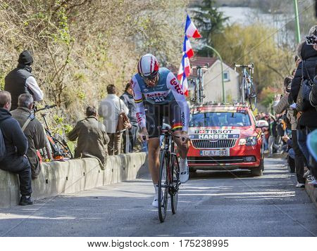 Conflans-Sainte-HonorineFrance-March 62016: The Australian cyclist Adam Hansen of Lotto-Soudal Team riding during the prologue stage of Paris-Nice 2016.