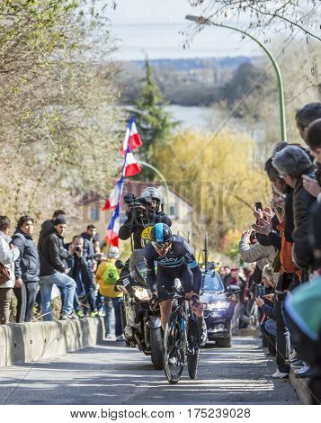Conflans-Sainte-HonorineFrance-March 62016: The Irish cyclist Nicolas Roche of Team Sky riding during the prologue stage of Paris-Nice 2016.