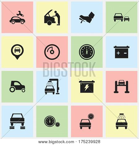 Set Of 16 Editable Car Icons. Includes Symbols Such As Treadle, Auto Repair, Speed Display And More. Can Be Used For Web, Mobile, UI And Infographic Design.